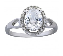 1.50 Carat Cubic Zirconia Oval Halo Engagement Ring for Women