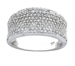 1 Carat Cubic Zirconia Pave Set Wedding Ring Band for Her