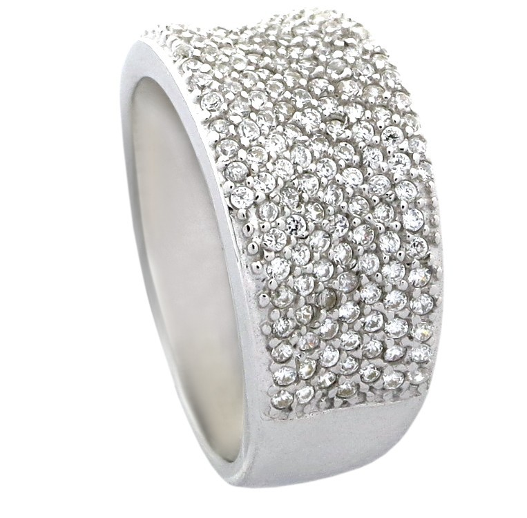 Cubic Zirconia Set Bands: 1 Carat Cubic Zirconia Pave Set Wedding Ring Band For Her
