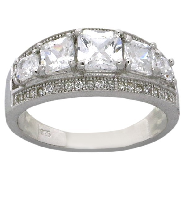 2 5 Carat Cubic Zirconia Unique 5 Stone Cushion Cut Engagement Ring Band Je