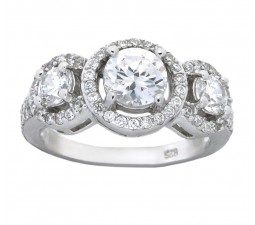 1 Carat Cubic Zirconium Antique Halo Engagement Ring for Her