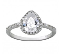 Perfect 1.50 Carat Pear Shaped Cubic Zirconium Engagement Ring for Her