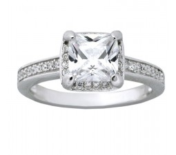 Beautiful 1.50 Carat Cubic Zirconia Princess Halo Engagement Ring