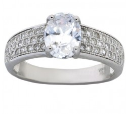 Fantastic 2 Carat Cubic Zirconia Oval Shape Engagement Ring in 18k White Gold over Sterling Silver