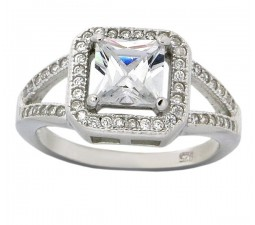 2 Carats Princess Halo Cubic Zirconium Engagement Ring for Her