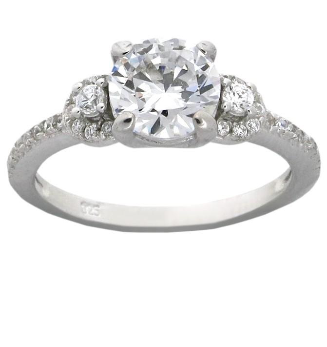 designer 3 carat cubic zirconium round engagement ring for. Black Bedroom Furniture Sets. Home Design Ideas