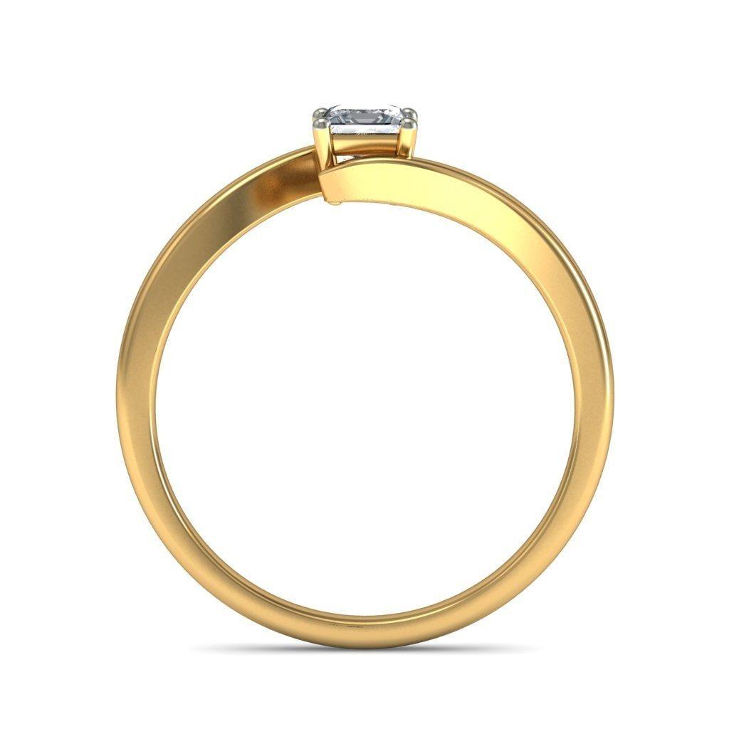 Intriguing Solitaire Diamond ring Half Carat Princess Cut Diamond on Gold J