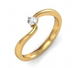 Curvy Round Diamond Ring in Yellow Gold