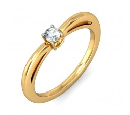 Round Solitaire Diamond Engagement Ring in Yellow Gold