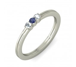 Three Stone Blue Sapphire and Diamond Ring on White Gold on Sale