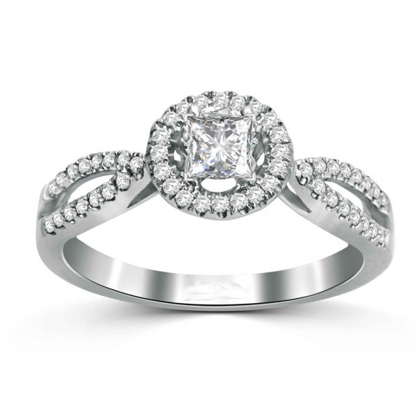 Princess 1 Carat Halo Engagement Ring for Her in White Gold