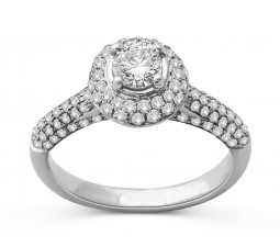 1.50 Carat Huge Round Halo Diamond Engagement Ring in 18k White Gold
