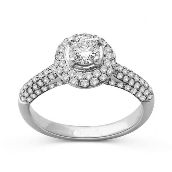 1.50 Carat Huge Round Halo Diamond Engagement Ring in 18k White Gold