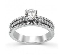 Round Diamond Engagement Ring in White Gold