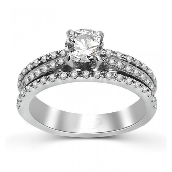 Round Diamond Engagement Ring in White Gold