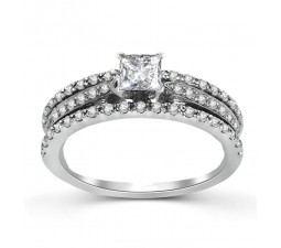 Three Row 1 Carat Princess Diamond Engagement Ring in White Gold