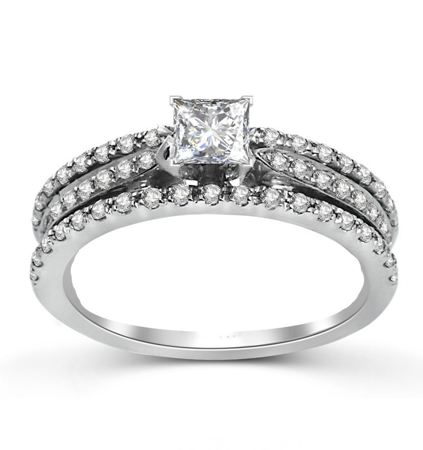 Unique Inexpensive Engagement Ring 1 00 Carat Princess Cut Diamond on White G