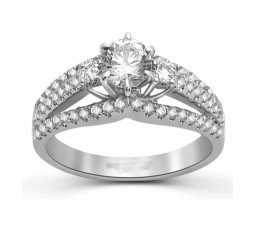 Huge 1.50 Carat Round Diamond Engagement Ring in 18k White Gold