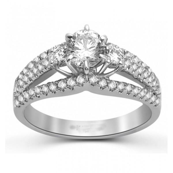 Huge 1.50 Carat Round Diamond Engagement Ring in 18k White Gold