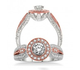 Unique Designer Round Diamond Engagement Ring in Rose and White Gold