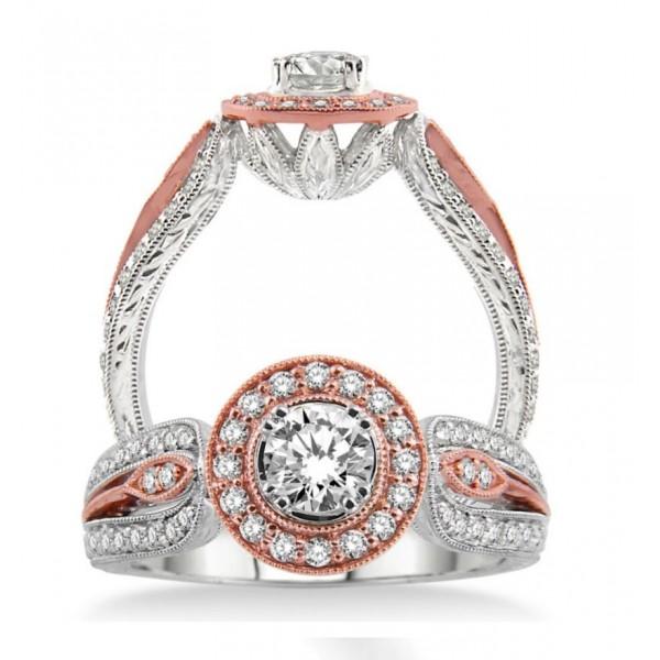 Unique Designer Round Diamond Engagement Ring in Rose and White Gold