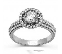 Halo Round Diamond Engagement Ring with 1 Carat Weight