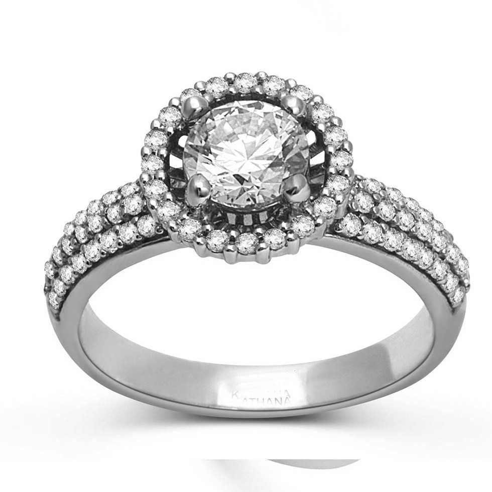 Luxurious Halo Cheap Engagement Ring 1 00 Carat Round Cut Diamond on Gold J