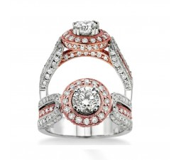 Designer Engagement Ring in Rose and White Gold