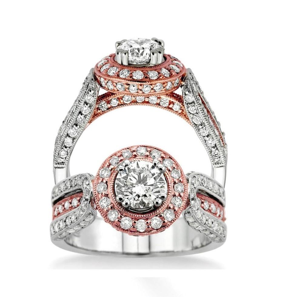 Glorious Rose And White Gold Wedding Ring 1 00 Carat