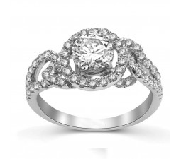 Round Halo Diamond Engagement Ring in 14k White Gold