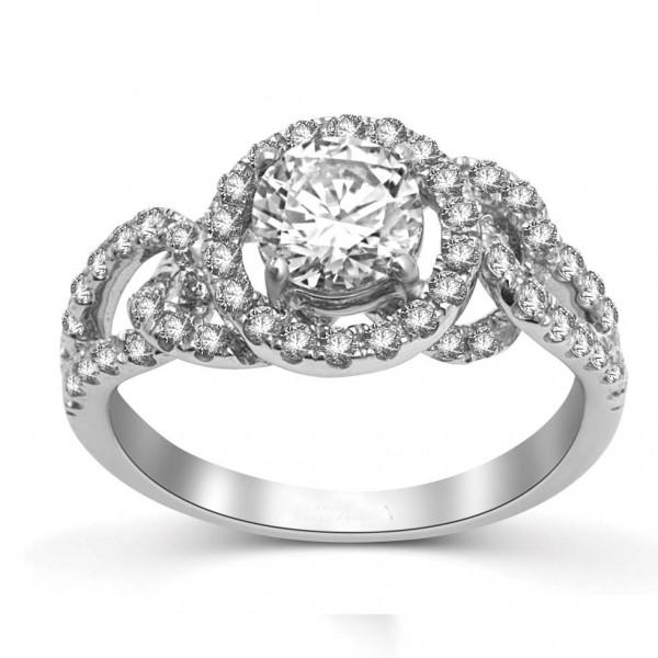 Round Halo Diamond Engagement Ring in 14k White Gold