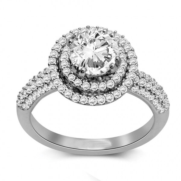 Huge 2 Carat Round Double Halo Diamond Engagement Ring