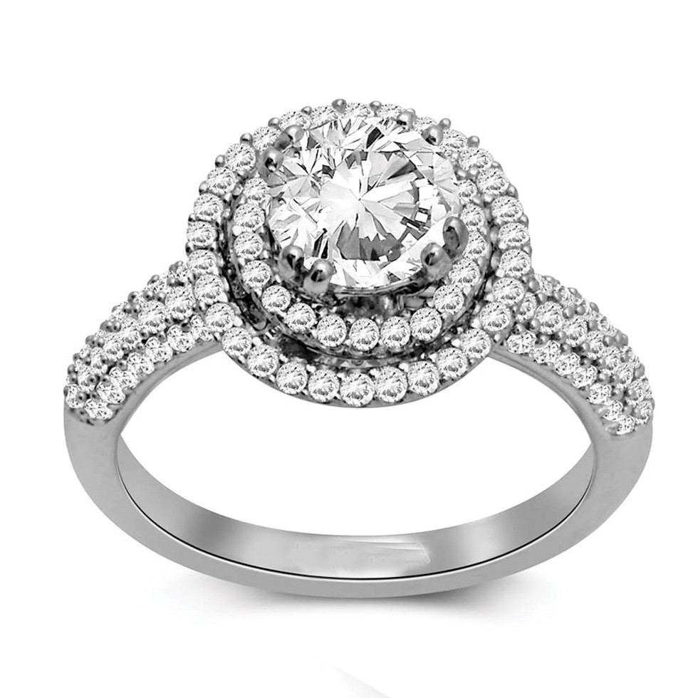 radiant gold engagement diamond rings covered shank white ring wedding with halo a double pave in cut