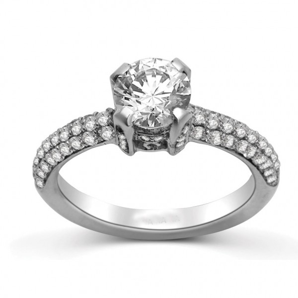 Round Diamond Engagement Ring on 14k White Gold