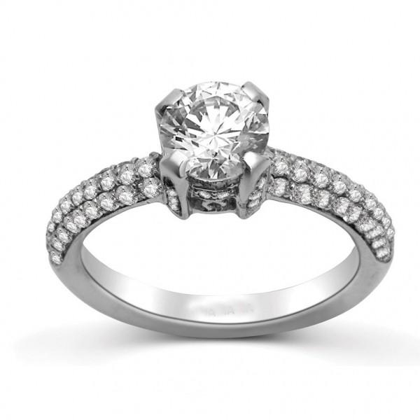 Round Diamond Engagement Ring on 14k White Gold