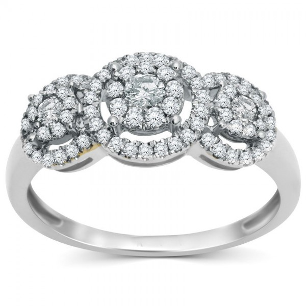 Classic 1 Carat Halo Design Round Diamond Engagement Ring