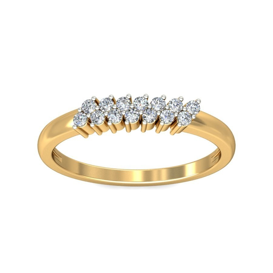 double row diamond wedding band for her in yellow gold