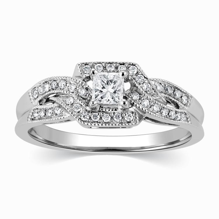Elegant Wedding Ring 1 00 Carat Princess Cut Diamond on Gold JeenJewels