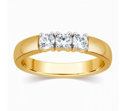 Affordable 1/4 Carat Three Stone Round Diamond Trilogy Ring