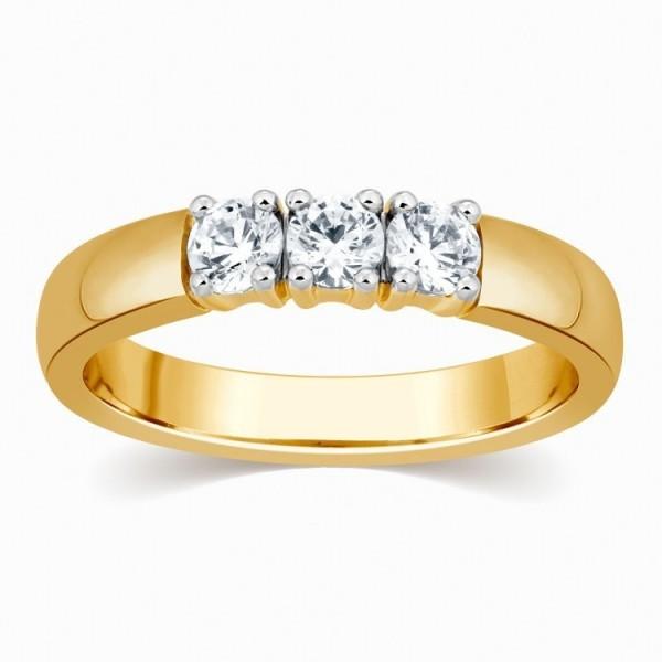 Affordable 1/4 Carat Three Stone Round Diamond Trilogy Ring