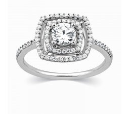Luxurious Round Diamond Halo Design Engagement Ring in 18k White Gold