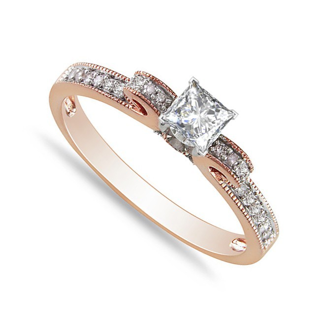 Exquisite Cheap Engagement Ring 0 50 Carat Princess Cut Diamond on Rose Gold