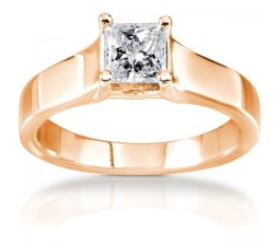 Princess Solitaire Cathedral design Engagement Ring in 10k Rose Gold