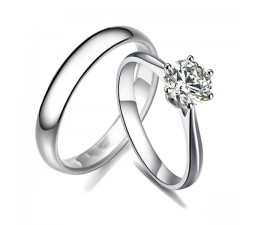 Inexpensive GIA Certified Round Diamond Bridal Set on White Gold