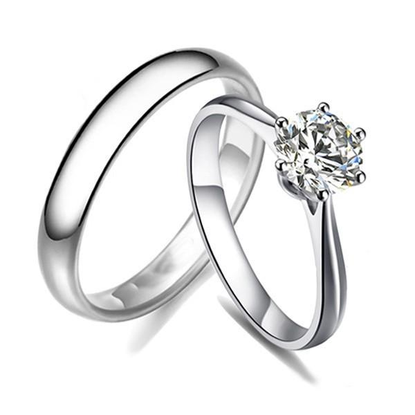 Inexpensive GIA Certified Round Diamond Bridal Set on White Gold