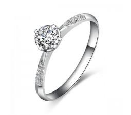 Cheap Round Diamond Engagement Ring on White Gold
