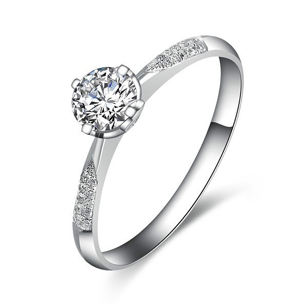cheap round diamond engagement ring on white gold - Cheap Wedding Rings