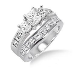 2 Carat Princess cut Diamond Inexpensive Wedding Set on 10K White Gold