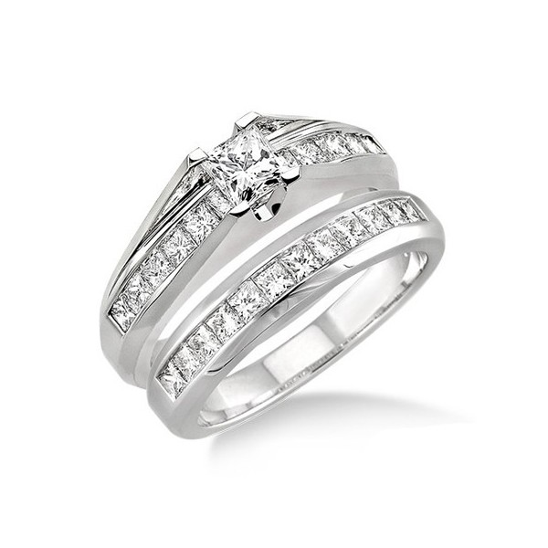 Handcrafted Inexpensive Diamond Wedding Ring Set 2 Carat Princess Cut Diamond