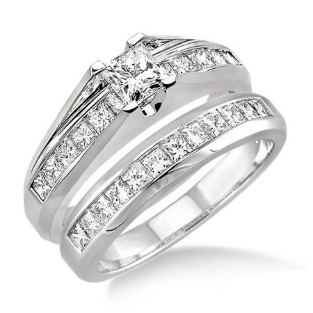 ... Princess cut Diamond Affordable Diamond Wedding Ring Set on 10K White